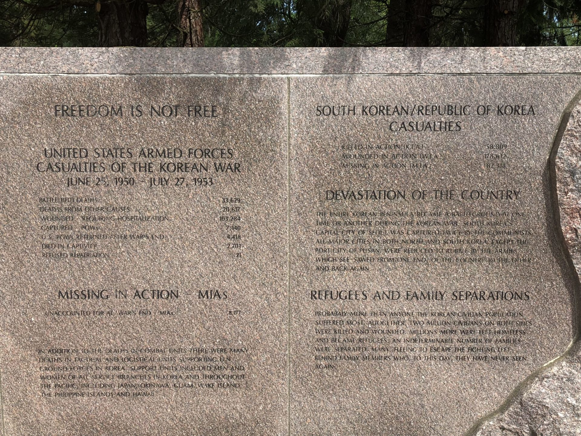 Korean War Memorials - Wilsonville